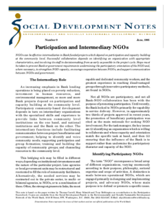 Participation and intermediary NGOs (World Bank) | Eldis